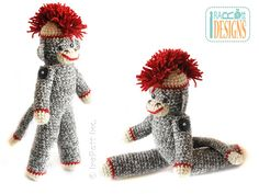 PATTERN 14 inch Classic Twist Sock Monkey Doll by IRAROTTpatterns