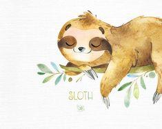 Little animals watercolor clipart sleepy sloths Sloth. Little animals watercolor clipart sleepy sloths Animals Watercolor, Watercolor Clipart, Watercolor Art, Baby Sloth, Cute Sloth, Sloth Drawing, Clip Art, Tier Fotos, Illustrations