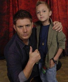 Jensen and mini Dean oh my god I am crying. this will be the style of my child.