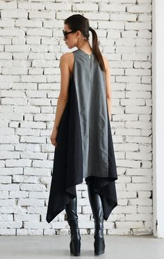 SALE Asymmetric Black and Grey Dress/Loose Casual Tunic Top/Sleeveless short Dress/Maxi Black Dress/Plus Size Kaftan/Grey Summer Dress Kaftan, Plus Size Dresses, Short Dresses, Summer Dresses, Fashion Tips For Women, Womens Fashion, Maxi Robes, Everyday Dresses, Gray Dress