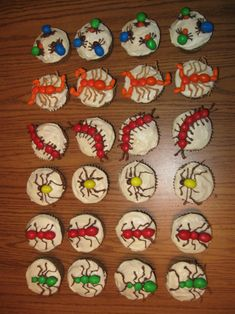 These bug cupcakes are made of m&m candies and are a favorite of children.