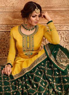 Yellow And Green Dual Bottom Lehenga/Pant Kurti Set - Hatkay Pakistani Mehndi Dress, Rajasthani Dress, Bridal Mehndi Dresses, Mehendi Outfits, Indian Bridal Outfits, Pakistani Dress Design, Indian Designer Outfits, Pakistani Dresses, Indian Dresses