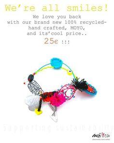 Recycled bracelet caterina anesti Recycled Bracelets, All Smiles, Crochet Necklace, Recycling, Love You, Christmas Ornaments, Holiday Decor, Crafts, Atelier
