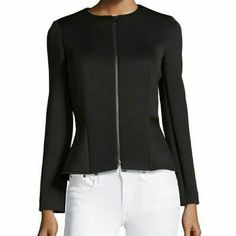 Tahari Lynn Scuba Neoprene peplum blazer jacket 4 This blazer is awesome!! Chic, professional, casual, comfortable! Can be worn so many ways. Scuba material, crew neckline, peplum waist, zip front, fitted silhouette, straight hem. US size 4, will fit Small or Medium. Brand new with tags, SOLD OUT everywhere including Neiman Marcus Last Call less than a week ago! Tahari Jackets & Coats Blazers