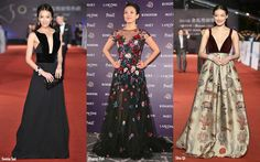 Sonia Sui displayed grace in a black silk gown with velvet paneled bodice by Giorgio Armani. Zhang Ziyi was engaging in a floral embroidered Zuhair Murad gown with sheer yoke & skirt. Taiwanese actress Shu Qi picked a regal velvet burgundy bodice gown with gold printed brocade skirt by Valentino Couture.