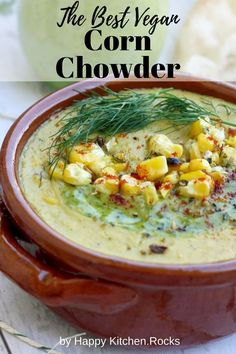 Incredibly creamy and easy vegan corn chowder recipe is ready in under 30 minutes. This smoky corn chowder is made of corn, zucchini, bell peppers, potatoes, coconut milk and millet. Vegetarian Main Course, Vegetarian Comfort Food, Vegetarian Recipes Dinner, Vegan Dinners, Weeknight Dinners, Vegan Recipes, Vegan Corn Chowder, Chowder Recipes, Coconut Milk