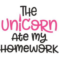 Silhouette Design Store: the unicorn ate my homework