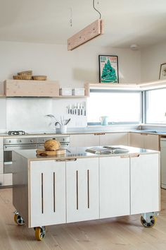 Don't feel limited by a small kitchen space. Get design inspiration from these charming small kitchen designs. Mobile Kitchen Island, Portable Kitchen Island, Kitchen Island On Wheels, Island Kitchen, Island 2, Kitchen Trolley, Long Island, Kitchen Cabinet Design, Kitchen Layout