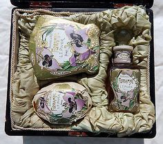 Rare Early 1900s Complete Floramye Perfume Set in Japanese Lacquerware Box