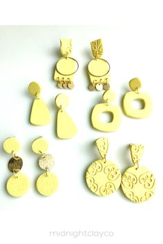 Yellow polymer clay earrings. This collection has circle shaped earrings, cut out earrings, tiered earrings, textured earrings, and some earrings with brass details. Fun, colorful dangle earrings make the perfect accessory for a spring or summer outfit. Give as a unique birthday gift for coworker, best female friend, or sister. Makes a great graduation gift! Shop these trendy handmade earrings for women in my etsy shop! Coworker Birthday Gifts, Unique Birthday Gifts, Gifts For Coworkers, Yellow Earrings, Women's Earrings, How To Clean Earrings, Yellow Candy, Great Graduation Gifts, Handmade Polymer Clay