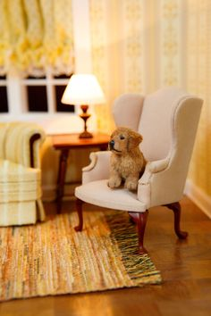 1:12 Miniature Golden Retriever Puppy OOAK Furred