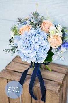 New England-style Navy & Peach Wedding Bouquet Navy Peach Wedding, Blue Wedding Flowers, Wedding Colors, Blue Bridal, Peach Flowers, Blue Roses, Light Blue Flowers, Blue Wedding Bouquets, Periwinkle Wedding