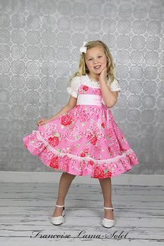 5e68c8088aae Girls Dress Valentine Easter Birthday Flower Girl tea party ruffled twirl  dress romantic dress pink