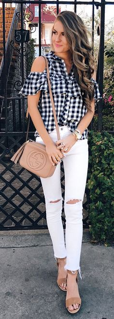 #spring #outfits Checked Cold Shoulder Shirt & White Ripped Skinny Jeans
