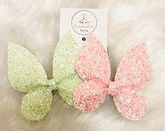 Glitter hair bow, girls hair accessories, hair bows, toddler hair bow, butterfly hair bow, pretty hair bow, pink hair bow, spring, green