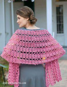Crochet lace shawl free pattern