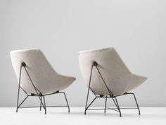Augusto Bozzi Pair of Easy Chairs for Saporiti | From a unique collection of antique and modern lounge chairs at https://www.1stdibs.com/furniture/seating/lounge-chairs/