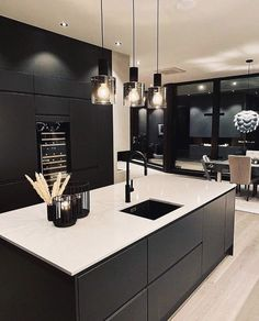 Decoration Design, Deco Design, Küchen Design, Stylish Kitchen, Modern Kitchen Design, Home Design, Best Kitchen Cabinets, Architecture Design, Dark Interiors