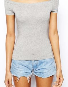 Grey Marl Bardot Neckline Top with Short Sleeve