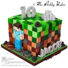 For my sons friends minecraft sleepover party x Wasn't happy with this at all but Jacob loved it so that's ok lol x Minecraft Party, Minecraft Birthday Cake, Minecraft Cake, 9th Birthday, Boy Birthday Parties, Sleepover Party, Cakes For Boys, Cake Tutorial, Childrens Party