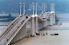 Ponte Governador Nobre de Carvalho (Macau-Taipa Bridge) connects Macau Peninsula and the Island of Taipa, Macau