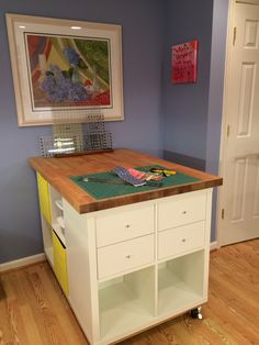 Quilt Cutting and Storage Table using Ikea Kallax cabinets Table Storage, Craft Storage, Ikea Kallax, Quilting Room, Room Makeovers, Hobby Room, Create And Craft, Sewing Rooms, Diy Furniture
