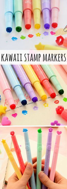 hella cute stamp markers! You can use them to write and color like normal pens but they also have these lil stamps on the end! great for bullet journal and decorating planners. Pack of 12 different kawaii designs! #kawaii #ad #afflink #pens #stationery