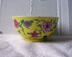 VINTAGE SMALL PRETTY YELLOW WITH FLOWERS JAPANESE BOWL