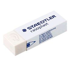 Staedtler Rasoplast Eraser  Comfort Quality  For graphite on paper and matt drafting film  In practical cellophane wrap  Tear strip for easy removal of cellophane  Slide sleeve for convenient handling  Dust-free, leaves no stains  65x23x13 mm