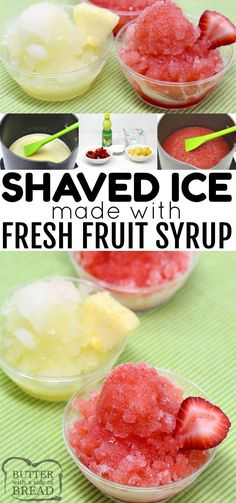Homemade Fresh Fruit Shaved Ice is the perfect summer treat! Fresh fruit is so m… Homemade Fresh Fruit Shaved Ice is the perfect summer treat! Fresh fruit is so much healthier than those store-bought syrups and you can make any flavor! Easy Summer Desserts, Summer Dessert Recipes, Summer Treats, Frozen Desserts, Frozen Treats, Fun Desserts, Frozen Fruit, Shave Ice Syrup Recipe, Shaved Ice Recipe