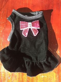 Dog Dress Size Medium Black With Sequin Pink Bow 11182016 #LuluPink