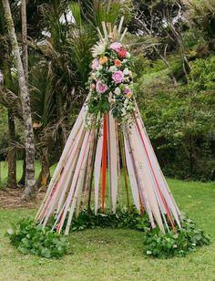 ribbon flower teepee / http://www.himisspuff.com/ribbon-wedding-ideas/9/