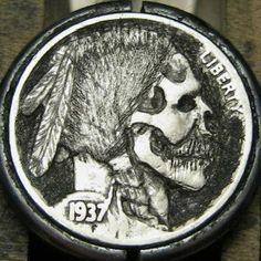 CHRISTOPHER STINNETT HOBO NICKEL - INDIAN SKULL - 1937 BUFFALO PROFILE American Coins, Native American, Indian Skull, Hobo Nickel, Buffalo, Carving, Profile, Awesome, User Profile