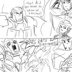 I laughed harder than I should have. Transformers Prime Funny, Transformers Art, It's Funny, Funny Stuff, Big Robots, Dark Sense Of Humor, Ratchet, Homestuck, Random Things