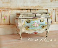 Miniature French Rococo Hand Painted Bombe Chest