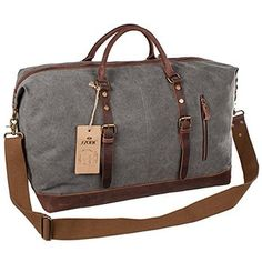 72825057360 S-ZONE Oversized Canvas Leather Trim Travel Tote Duffel shoulder handbag  Weekend Bag (Upgraded Version) .