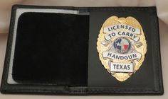 Other Hunting Holsters and Belts 22701: Concealed Handgun License Badge In Badge Case Texas Gold Color BUY IT NOW ONLY: $40.0