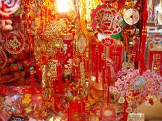 https://flic.kr/p/zaKjg | Chinese New Year Decorations | Decorations for Chinese New Year for sale in Mong Kok, Kowloon, Hong Kong.  2007 is the year of the pig.