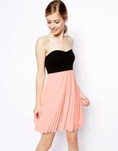 Bandeau Pleat Mini Skater Dress