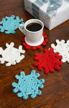Christmas Crochet Jip by Jan - Snowflake Coaster Redheart.com