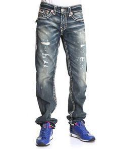 True Religion Men Ricky Straight Leg Flap Back Pckt Jeans- Granite Medium Wash 36 Mens Fashion Wear, Denim Fashion, Shoes With Jeans, Jeans And Boots, True Religion Men, Religion Jeans, Celebrity Jeans, Hoodie Outfit, Jeans Style