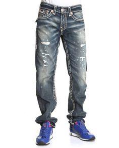 True Religion Men Ricky Straight Leg Flap Back Pckt Jeans- Granite Medium Wash 36