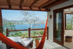 The private terrace of the Cocos suite at Solana Bed & Breakfast in Zihuatanejo, Mexico