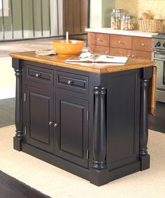 Loving this Black & Distress Oak-Finish Monarch Kitchen Island on #zulily! #zulilyfinds