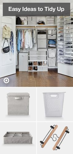 Time to tidy up… Or fully cut the clutter. Tidy up your home with smart storage ideas for your bedroom, closet, living room, kitchen & kids' playroom. Closet Bedroom, Bedroom Decor, Design Bedroom, Bedroom Ideas, Master Closet, Tidy Up, Closet Designs, My New Room, Closet Organization