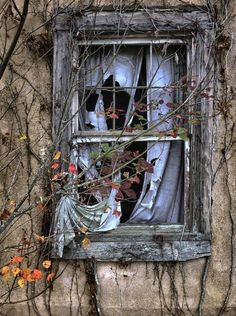 Somehow windows with curtains left behind still give me the impression there is hope someone will claim the house as their own once again.