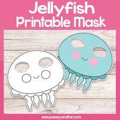 Printable Jellyfish Mask Template – Easy Peasy and Fun Membership Printable Masks, Printables, Summer Crafts, Crafts For Kids, Shark Week Crafts, Paper Flowers For Kids, Mask Template, Bee Cards, Mask For Kids