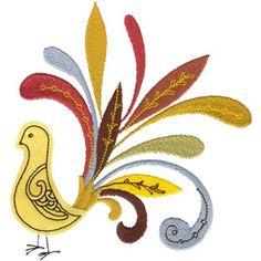 Retro Birds (27) Applique, Tufted Satin, Cutwork