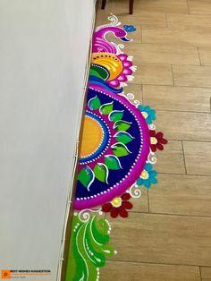 Rangoli Designs Peacock, Rangoli Designs Simple Diwali, Rangoli Simple, Indian Rangoli Designs, Rangoli Designs Latest, Free Hand Rangoli Design, Rangoli Patterns, Small Rangoli Design, Rangoli Ideas