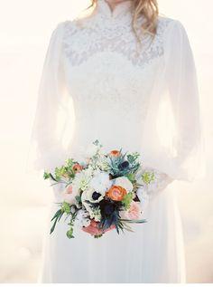 sea sand bridal wedding inspiration, photo by Kyle John Photography